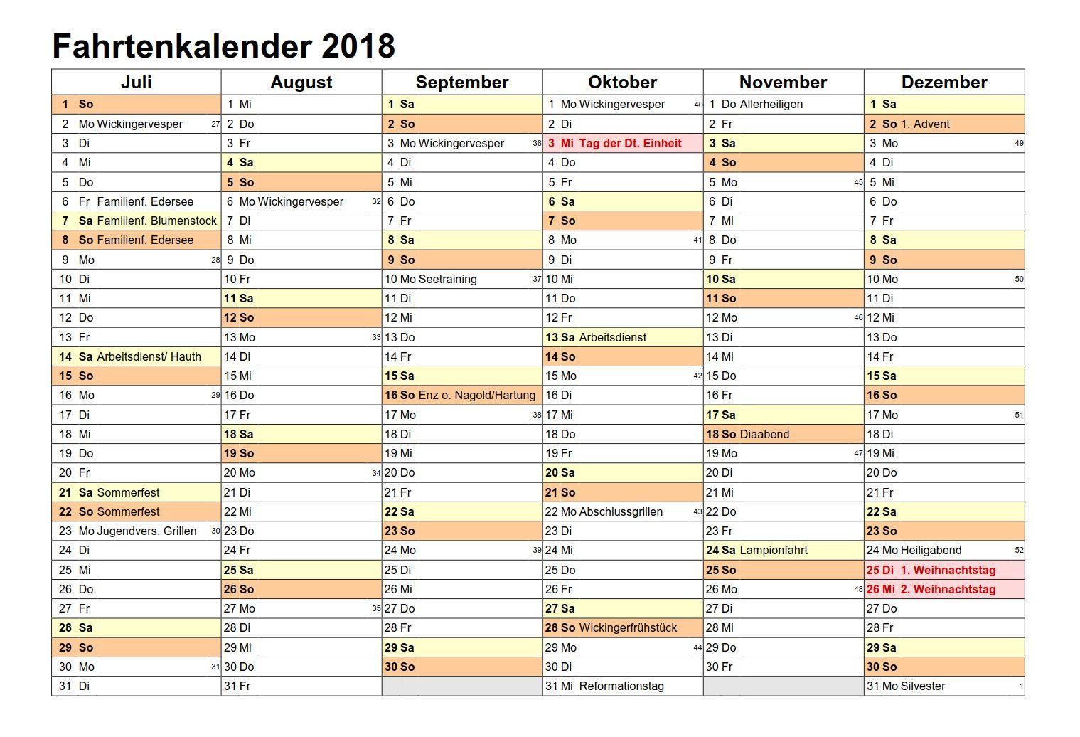 KFW Spöck Fahrtenkalender 2018 (Seite 2)